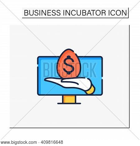 Virtual Business Incubator Color Icon. Coordination In Acquisition Of Financial Sustainability Onlin