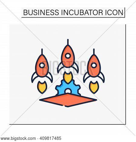 Startup Studio Color Icon. Launch And Build Several Companies In Succession. Three Successful Busine