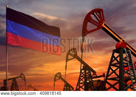 Donetsk Peoples Republic Oil Industry Concept, Industrial Illustration. Donetsk Peoples Republic Fla
