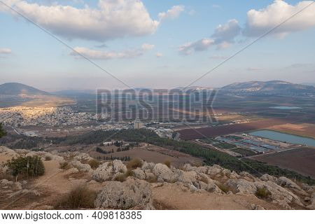 Landscape From The Jumping Mountain In Nazareth. Panoramic View. High Quality Photo
