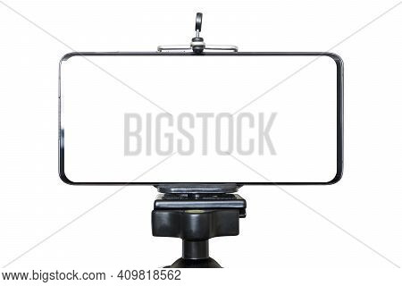 Mobile Phone Isolated On Tripod In White Background, Blank Screen For Text And Design