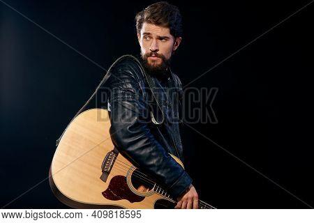 Cheerful Man Rock Musician Guitar Playing Music Black Background