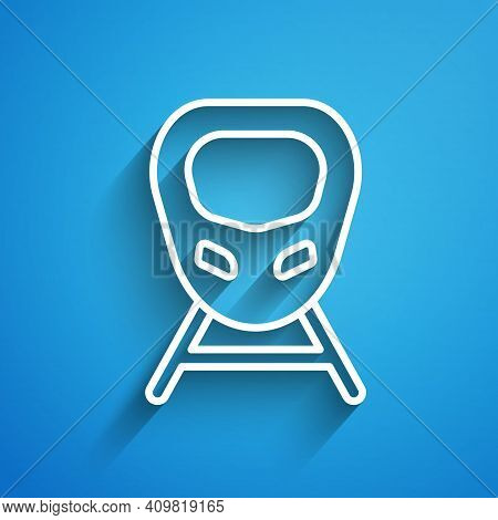 White Line High-speed Train Icon Isolated On Blue Background. Railroad Travel And Railway Tourism. S