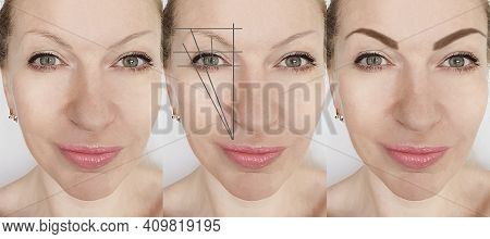 Eyebrows Before And After Correction Beautician Shape