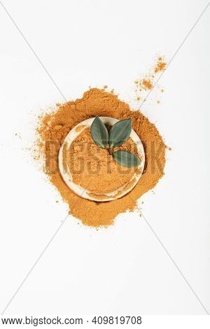 Diet Nutrition, Health Care Lifestyle Concept. Curcuma Longa Or Turmeric Powder In Bowl With Green L