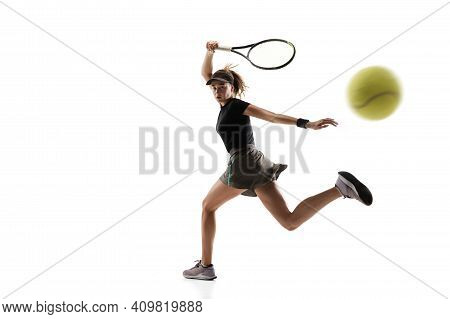 Catching. Young Caucasian Professional Sportswoman Playing Tennis Isolated On White Background. Trai