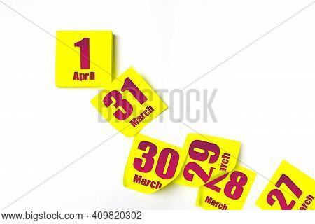 April 1st . Day 1 Of Month, Calendar Date. Many Yellow Sheet Of The Calendar. Spring Month, Day Of T
