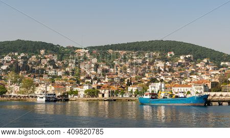 Istanbul, Turkey - April 27, 2017: Heybeliada Island From The Sea With Summer Houses. The Island Is