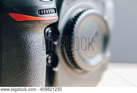 Professional Build Quality Modern Dslr And Front Buttons Close Up, Built With Rugged Magnesium Alloy