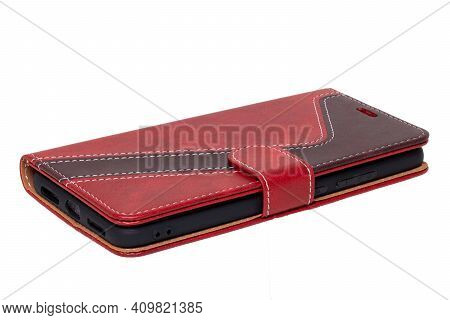 Mobile Phone Case Isolated. Close-up Of A Smartphone In A Red Brown Leather Mobile Phone Case With M