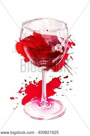 Watercolor Creative Artistic Red Wine Glass With Aquarel Splash, Stain