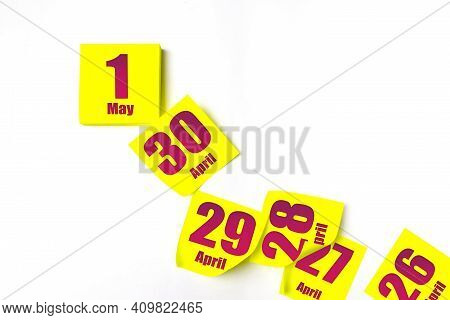 May 1st . Day 1 Of Month, Calendar Date. Many Yellow Sheet Of The Calendar. Spring Month, Day Of The