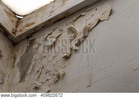 Mold, Mildew On The Wall In Humid Places. The Most Destructive Fungus Due To Moisture And Lack Of Ve
