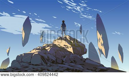 Young Boy Standing On The Mountain And Looking At The Rocks Floating In The Sky, Vector Illustration