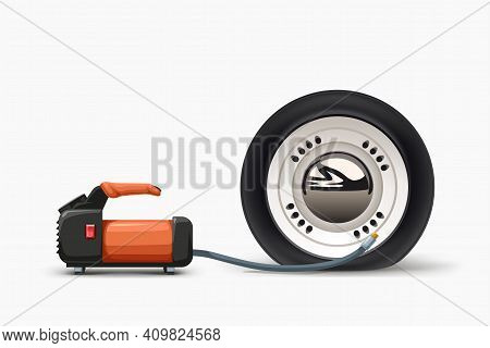 Air Pump Inflating Flat Tire On White