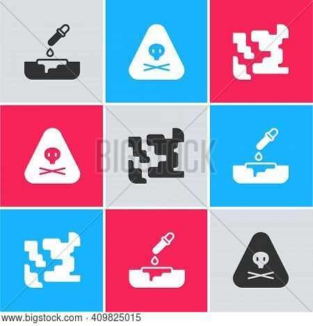 Set Petri Dish With Pipette, Triangle Warning Toxic And Gaseous Icon. Vector