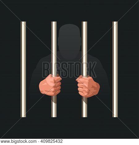 Hands Of Prisoner Holding Metal Jail Bars