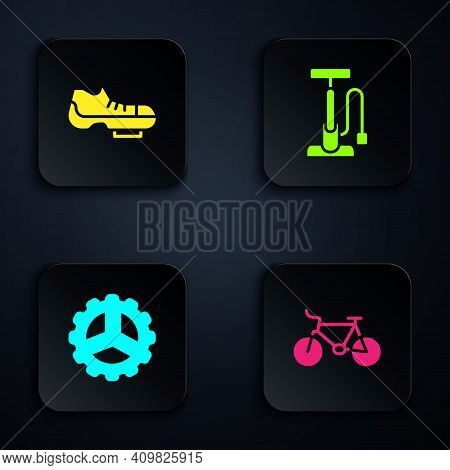 Set Bicycle, Shoes, Sprocket Crank And Air Pump. Black Square Button. Vector
