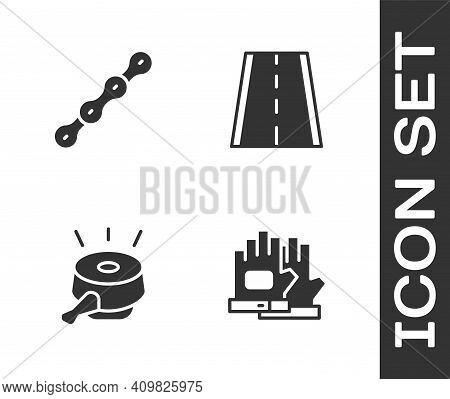 Set Gloves, Bicycle Chain, Bell And Lane Icon. Vector