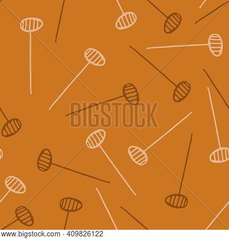 Abstract Wild Flower Seed Head Seamless Vector Pattern Background. Floating Herbacious Flower Seeds