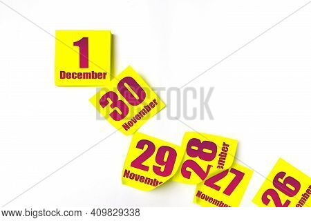 December 1st . Day 1 Of Month, Calendar Date. Many Yellow Sheet Of The Calendar. Winter Month, Day O