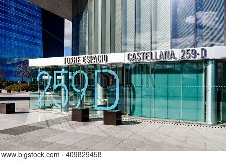 Madrid, Spain - February 7, 2021: Torre Espacio Office Building Entrance. Business And Finance Conce