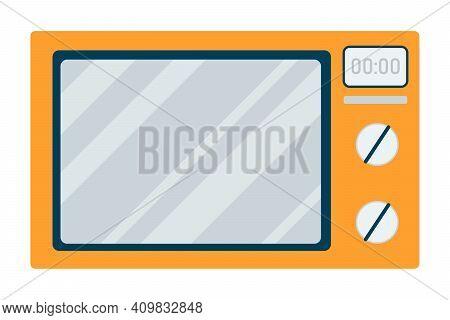 Vector Illustration Microwave Front View. Electric Oven, Kitchen Appliance Isolated Element. An Auto