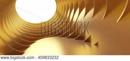 Abstract Architecture Background. 3d Illustration Of Gold Circular Building. Modern Geometric Wallpa