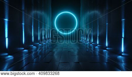 Futuristic Tunnel With Light, Interior View. Future Background, Business, Sci-fi Or Science Concept.