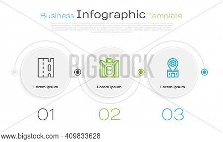 Set Line Bicycle Lane, Hiking Backpack And Repair Service. Business Infographic Template. Vector
