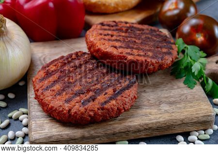 Tasty Grilled Burger Made With Vegetarian Plant Based Imitation Minced Meat