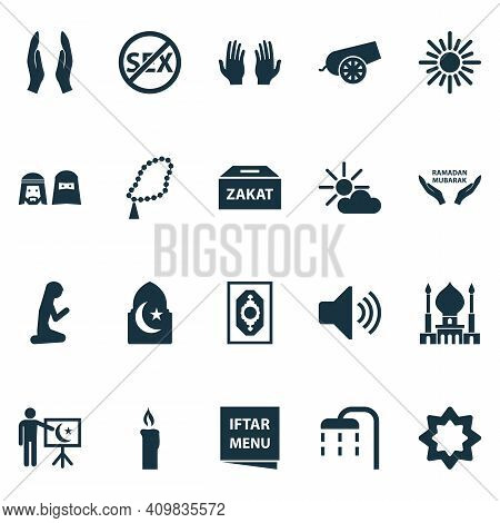 Religion Icons Set With Bomb, Asr, Rosary And Other Gods House Elements. Isolated Vector Illustratio