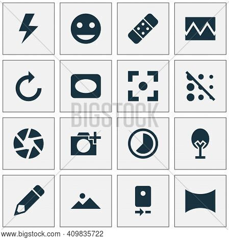 Picture Icons Set With Lightning, Healing, Center Focus And Other Accelerated Elements. Isolated Vec