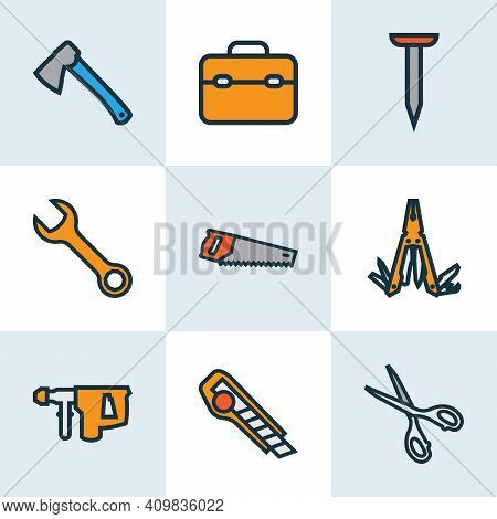 Handtools Icons Colored Line Set With Saw, Nail, Hatchet And Other Bolt Nut Elements. Isolated Vecto