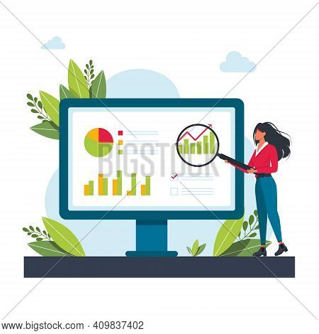 Woman Holding A Magnifying Glass At The Monitor And Examines The Diagram. Girl Studying Checklist Wi