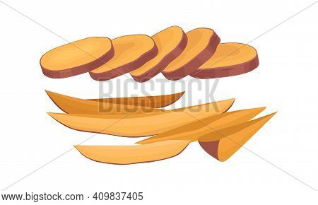 Chopped Sweet Potato Or Batata As Large Starchy, Sweet-tasting Root Vegetable Vector Set