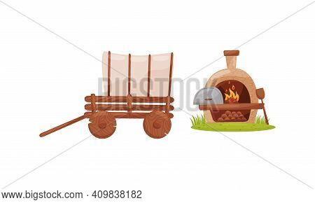 Wooden Waggon And Hearth With Blazing Firewood As Farm Elements Vector Set