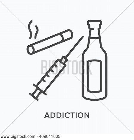 Addiction Flat Line Icon. Vector Outline Illustration Of Cigarette, Syringe And Bottle. Black Thin L