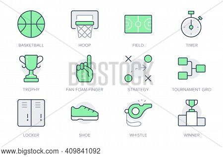 Basketball Sport Simple Line Icons. Vector Illustration With Minimal Icon - Court, Whistle, Goblet,