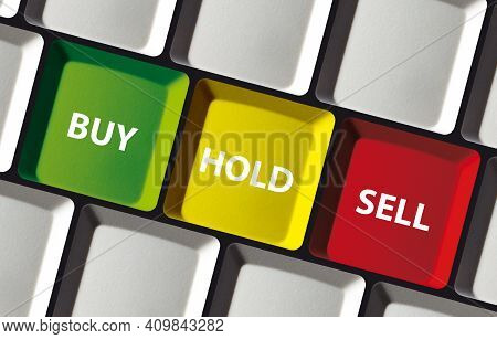 Buy Hold Sell Button On Computer Keyboard - Concept Stock Exchange Invest Trade