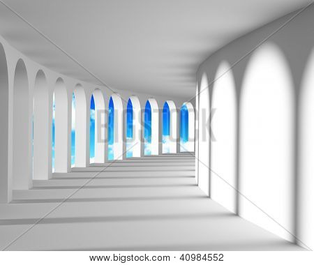 White abstract corridor with columns and blue sky