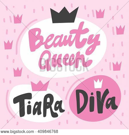 Beauty Queen, Tiara, Diva. Vector Hand Drawn Pink Girly Collection Set. Crowns On Background.