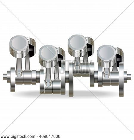 Vector Internal Combustion Engine Pistons Isolated On White Background