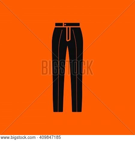 Business Trousers Icon. Black On Orange Background. Vector Illustration.