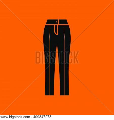 Business Woman Trousers Icon. Black On Orange Background. Vector Illustration.