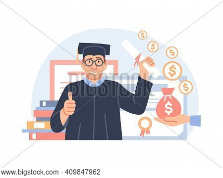 Investment In Education Concept. Study Cash, Tuition Fees Or Budget, Student Grant. Cartoon Graduate