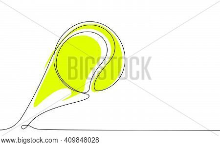 Tennis Ball In One Continuous Line. Sport, Active Lifestyle. Background For Sports Competitions. Vec
