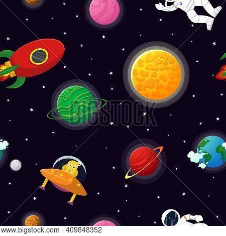 Flat Cartoon Style Funny Planet Pattern.