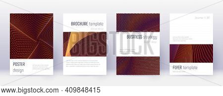 Black Cover Design Template Set. Orange Abstract L