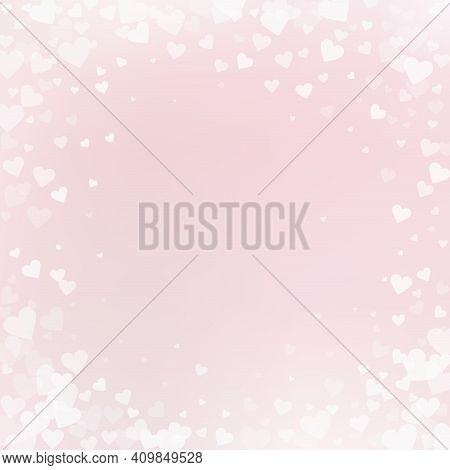 White Heart Love Confettis. Valentine's Day Vignet